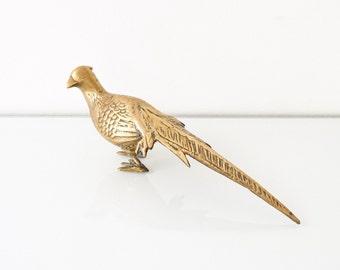 brass pheasant, brass bird figurine, brass bird, beautiful solid brass pheasant with intricate detailing, mid century modern, vintage