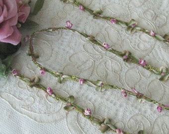 Mokuba Ombre Rococo Floral Trim - Rose Buds & Bows- Crafts, Sewing, Dolls, Teddy Bears, Ribbonwork Embellishments - 1/2 Yd.