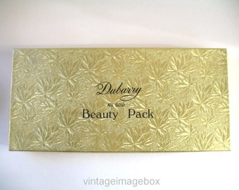 Vintage Dubarry All Gold Beauty Pack storage box for perfume and toiletries, 1960s vanity accessories prop packaging, 60s home decor