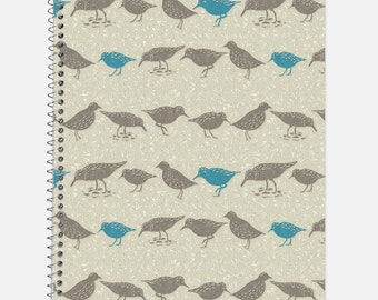 Sandpipers on the Beach Notebook, Waterproof Cover, Journal, Nautical, School Supplies, Ocean, Sea, College Ruled