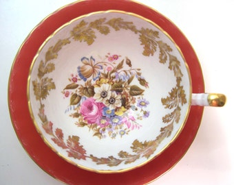 Aynsley Floral Tea Cup and Saucer Set,  Orange and Gold Tea Cup and Saucer.
