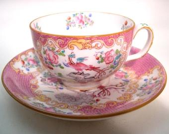 Antique Minton Tea cup And Saucer ,  Minton Pink Cockatrice  tea cup.