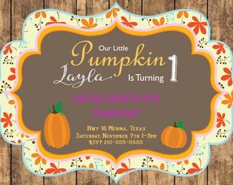 Our Little Pumpkin Birthday Digital Invitation