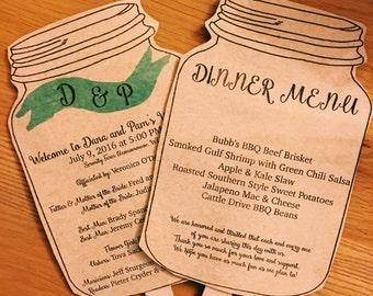 Kraft Mason Jar Wedding Program Fans two sided- 50 fans