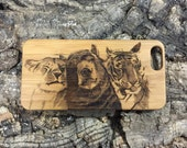 Lion Tiger Bear iPhone SE, 5 or 5S Case. Bamboo Wood Cover Spirit Animal. Animal Best Friends. Viral Video. iMakeTheCase iPhone 5 5S Case