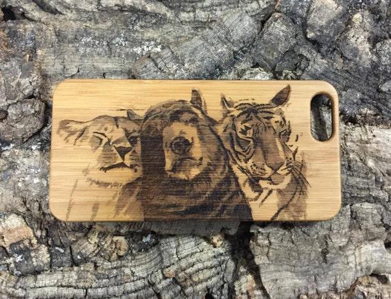 Lion Tiger Bear IPhone Plus Case Bamboo Wood IPhone Plus - Lion tiger bear best friends