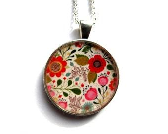 COLLIER FLEURS multicolores, bijoux fleurs, fleurs rouges, fleurs oranges, bijoux fleurs, cabochon résine