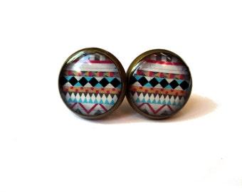 TRIBAL STUD EARRINGS - geometric stud earrings - aztec earrings - navajo jewelry - Native Jewelry - chevron jewelry - Boho earrings