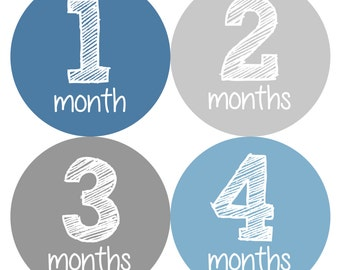 Baby Month Stickers, Monthly Baby Boy Stickers, Baby Month Milestone Stickers  - Baby Boy, Baby Shower Gift, Grey, Blue Chalkboard