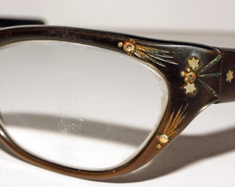 1960s Cat Eye Glasses Frames Vintage Retro Rhinestone