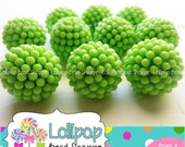 SALE Berry Beads 20mm Beads LIME GREEN Raspberry Beads Vintage Style Beads 10 Chunky Beads Bubblegum Beads Acrylic Beads Opaque Bubble Gum B