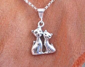 Siamese Cats Mini Pendant Charm and Necklace