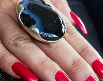 Huge Gemstone Ring with an oval shaped black Agate Sterling Silver 925 size 10 (GR266)