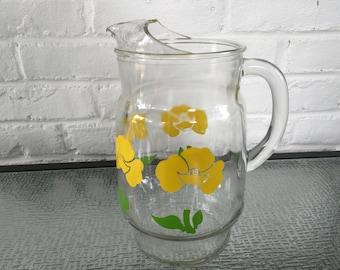 Hocking Glass Company Foxy Flower Pitcher