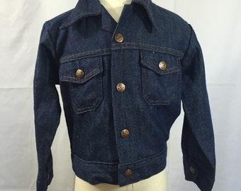 Vintage Boy's Denim Jacket - Vintage Jean Jacket - Size 5 - Billy the Kid Jacket - Spring Jacket - Rockabilly Jacket - Dark Wash Jacket