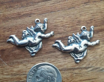 2 Silver plate Angel Cherub Charms