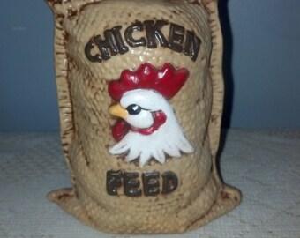 Ceramic Chicken Feed Bag Coin Piggy Bank