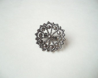 Antique cut steel Georgian brooch, round cut steel pin, facetted steel