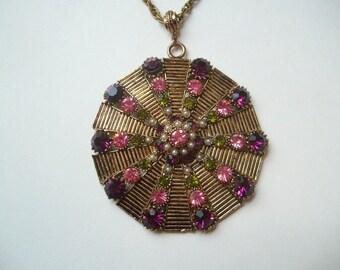 Vintage Hollycraft pendant necklace, large statement pendant, antique bronze, extra large pendant, Hollycraft jewellery, Hollycraft necklace