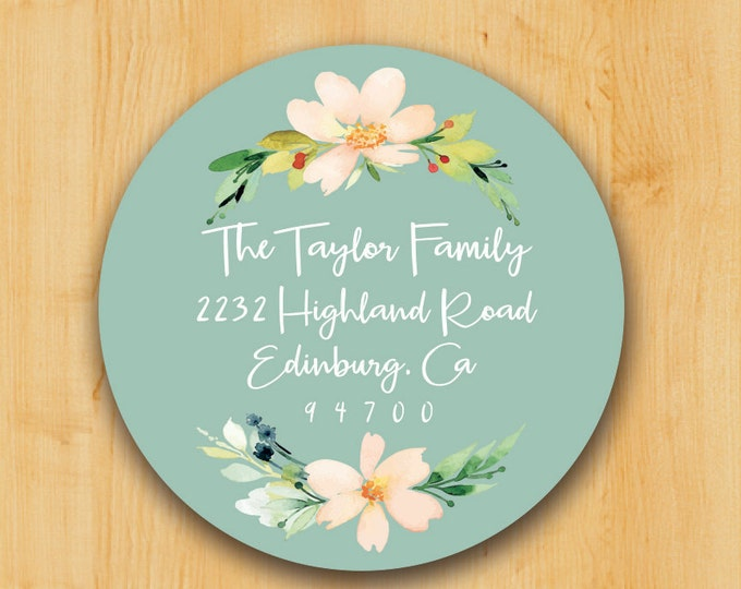 Return Address Sticker | Custom Stickers | Personalized stickers | Round Address Label | Flower Label