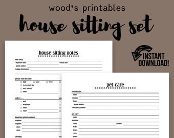 House Sitting Notebook PDF Printable; Home binder, Household binder, Pet Sitter, Printable, To Do List, Important Dates Printable