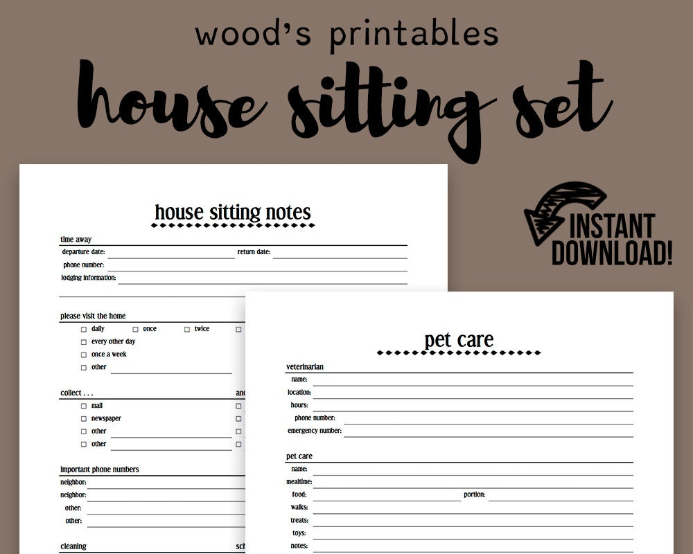 house sitting notebook pdf printable home binder household. Black Bedroom Furniture Sets. Home Design Ideas