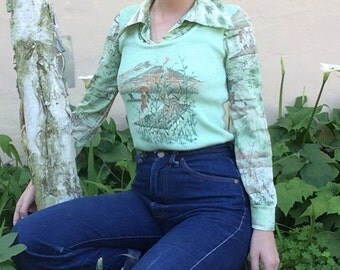 70s Chinese Bamboo Print Blouse