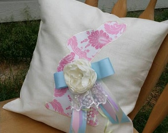 Pink Bunny Pillow Cover