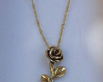 Flower Gold Pendant, 14K Yellow Gold Pendant, Women Gold Necklace, Handmade Gold Pendant, Rose Pendant, Gold 14k Necklace, christmas gift