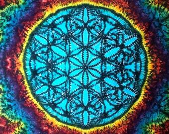 Flower of Life Tie Dye Sacred Geometry Tapestry!