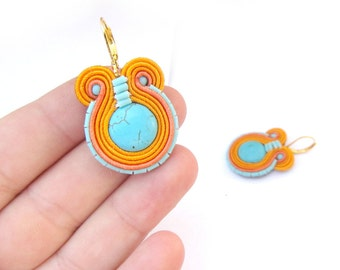 Turquoise Dangle Earrings - Handmade Soutache Earrings - Dangle Earrings with Turquoise - Handmade Soutache Jewelry - Blue and Orange