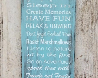 Glamping Rules, Personalized, Custom Rules, Rustic, Painted, Wood Sign