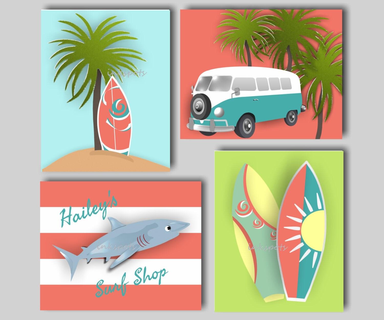 Surf art beach nursery decor shark nursery art surfboard for Surf nursery ideas