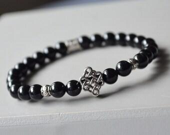 Onyx bracelet silver Celtic knot