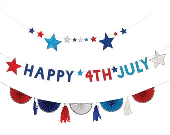 CLEARANCE! -- Fourth of July Patriotic Garland + Banner - Red White and Blue, 4th of July Party
