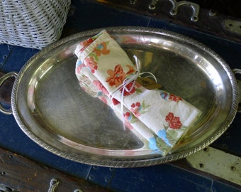 Silver plate oval serving tray with handles - Melford