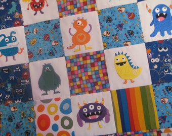 Baby blanket MADE TO ORDER Monster Mayhem embroidered patchwork, minky baby quilt, tummy time mat, blue, red, green and orange for baby boys