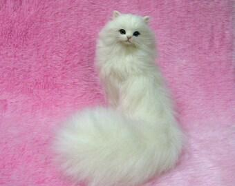 Needle Felted Odd-eyed Cat, White Long -haired Lucky Cat: Needle Felting