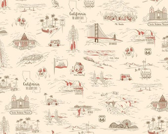 Studio 8 California Here we Come Hollywood Los Angeles Fabric BTY 1 Yd