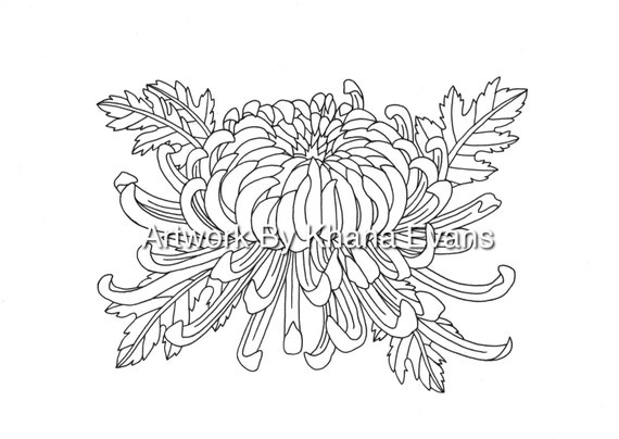 chrysanthemum flower tattoo design pdf a4 printout colouring page sheet hand drawn pen colour art therapy tattoo flash - Tattoo Coloring Book Pdf