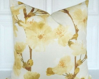 Decorative Pillow Cover - Yellow Floral  16x16, 18x18, 20x20 - Toss Pillow - Throw Pillow - Accent Pillow - Toss Pillow - Shades of Yellow