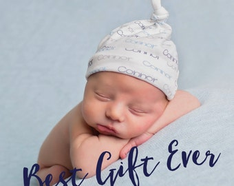 Personalized baby knot name hat: baby and toddler personalized name hat organic cotton knit baby shower gift