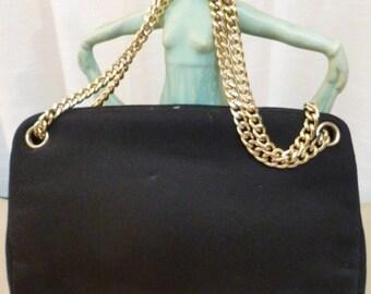 MM Morris Moskowitz Purse/Handbag, Malama Black Felted with Gold Chain, Inside Pockets, Pristine, Vintage 60s