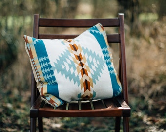 Boho Pillow Cover, blue accent pillow, southwestern pillow cover in Pendleton Wool, tribal pillow cover, western throw pillow cover