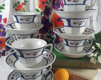 Adams Lancaster Teacups and Saucers Set of Eight English Mint Stoneware