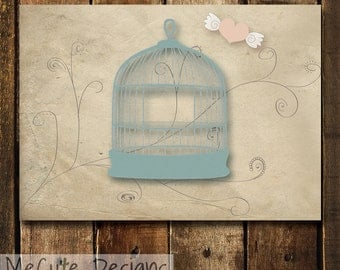 PRINTABLE Notecards. Birdcage. Great for Birthdays, Love Notes, Just Because, Thank You, I Miss You.