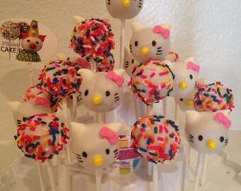 12 HELLO KITTY themed cake pops