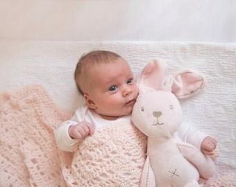Lucy - Pink Baby Blanket | Crochet Baby Blanket | Crochet Chevron Blanket | Organic Crib Bedding | Merino Wool Blanket | Wool Baby Blanket
