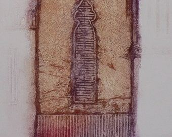 Original hand pulled contemporary intaglio print Facade part of Venetian series of etchings