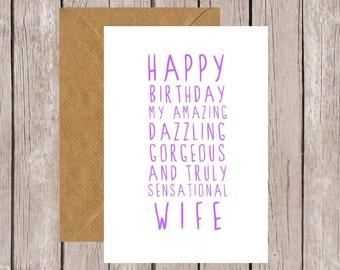 Sweet Description Happy Birthday Wife Card